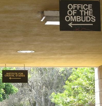 Signs at Girvetz Hall point students to the Institute for Crustal Studies and the Office of the Ombuds.