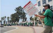 The AFSCME strike began at the roundabout on the eastern entrance to UCSB.