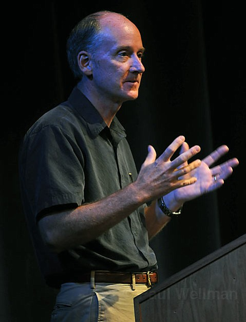 """James Thomson """"Father of Stem-Cell Research"""" speaks at UCSB's Hatlin Theatre during a town hall meeting on stem cell research"""