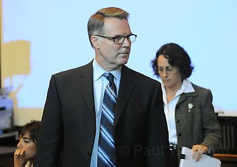 Senior Deputy District Attorney Hilary Dozer, (center) Deputy Public Defender Karin Atkins, (right) and defense co-council Jennifer Archer (left)
