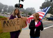 Sheila Baker (left) and Sandee Scott (right) outside Vandenberg Air Force Base.