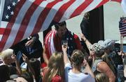 Todd Rogers mobbed by fans as he comes home to Santa Barbara from the Beijing Olympics with a gold medal