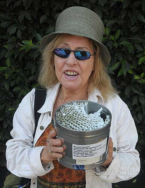 Elvy Musikka holds a month's supply of marijuana cigarettes provided by the federal government to treat her glaucoma.