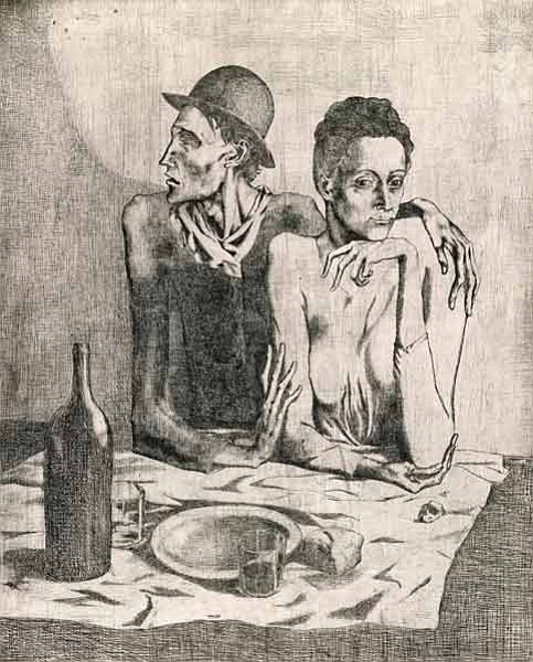 Pablo Picasso, <em>The Frugal Repast</em>, 1904-1913.