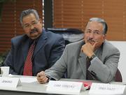 Michael Gonzales (left) and Santa Barbara Police Chief Cam Sanchez