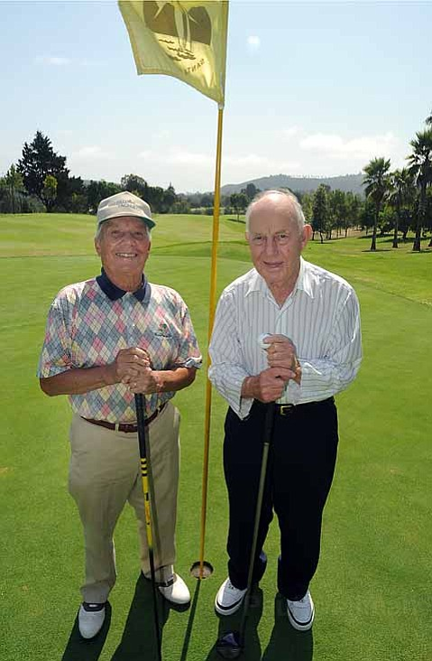 Sash Irvine (left) and Jim Stocker have been playing at Santa Barbara Golf Club since its opening in 1958.