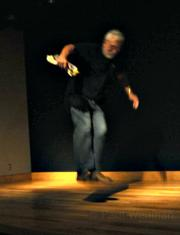 """Locklin shows off some """"Bell Jump"""" dance moves."""