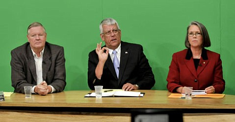 Lompoc mayoral candidates (from left) John Linn, current Mayor Dick DeWees, and Dulcie Sinn.