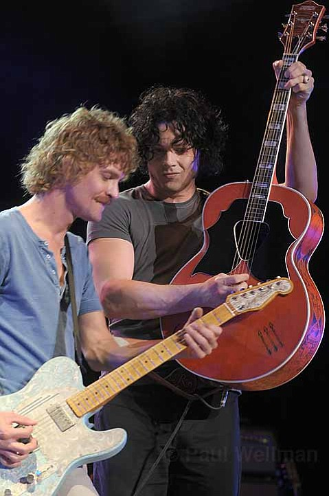 Brendan Benson (left) and Jack White share guitar duties onstage during last Thursday's Raconteurs show.