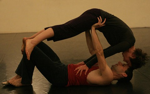 Matthew Nelson and Joanna Nobbe get physical in <em>A Delivery of Movement Arts</em>.