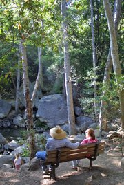 Hikers relax at bench near trail intersection.