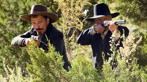 Viggo Mortensen (left) and Ed harris in <em>Appaloosa</em>.