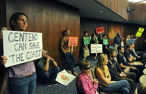 "No shortage of signs opposing the Naples development including one hoping to sway ""swing"" vote of 5th District Supervisor Joe Centeno who was raised on the Gaviota coast."