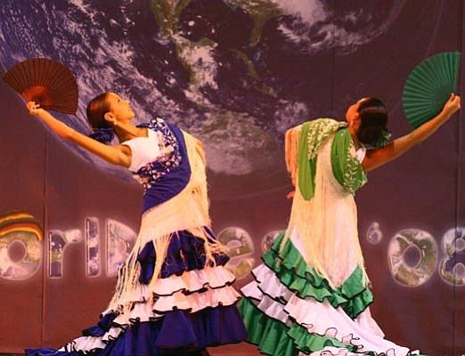 Dancers from the Linda Vega studio entertain the family-friendly World Fest.