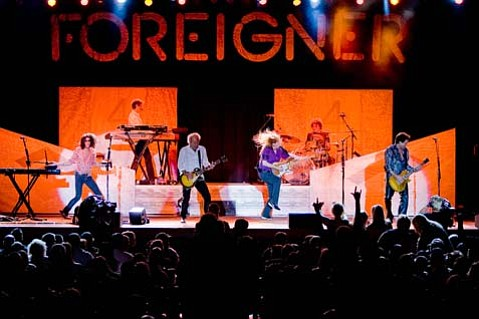 The latest incarnation of Foreigner, led by guitarist and founding member Mick Jones (third from left), pounded through a set of arena rock classics during their Thursday-night performance at Santa Ynez's Chumash Casino.