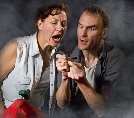 Leslie Gangl Howe as Agnes and Joe Jordan as Peter in Tracy Letts's <em>Bug</em>.