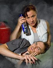 Leslie Gangl Howe as Agnes and Joe Jordan as Peter in Tracy Letts's Bug.