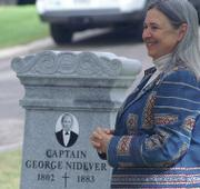 Marla Daily, the head of the Santa Cruz Island Foundation, introduces everyone and explains the circumstances behind the discovery of George Nidever's long-lost grave.