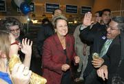 Doreen Farr celebrating at the Hollister Brewing Company when results came in of her further lead in the 3rd district race.