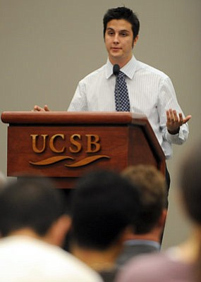 """STUDENTS' VOICE:  UCSB student body president John Paul """"J.P."""" Primeau objects to what he perceives as the school attempting to take money that students have requested to go to specific services."""