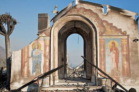 Only the entry portal at Mount Calvary Retreat survived the fire.