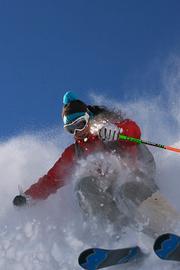 Jenn Berg carves the slope in <em>Children of Winter</em>.