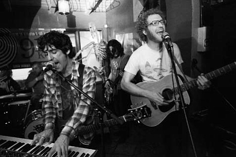 Blitzen Trapper's Eric Earley (left) and Marty Marquis (right) led the Portland-based band through a set of folk-tinged rock-outs on Monday night at Muddy Waters Cafe.