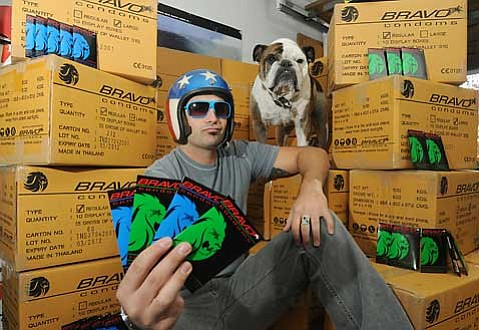 Zac Mazzotta and his dog, Boozmen Blu