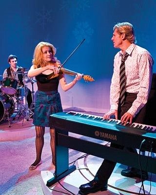 From left: Matt Wolpe, Charleene Closshey, and Brent Schindele are the cast and the musicians for <em>Striking 12</em>.