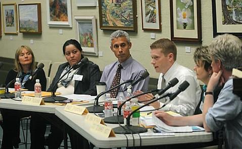 Consumer Advocacy Coalition panel, from left: Suzanne Riordan, Silvia Perez, Edwin Feliciano, Roger Thompson, Ann Detrick, and J.T. Turner