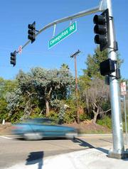 The newly installed traffic signal Foothill and Cieneguitas Roads.