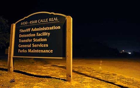 The dark stretch of Calle Real by Santa Barbara County Jail