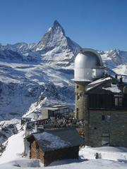 The Gornergrat Observatory in Zermatt. It sits near the top of the third ski area at about 10,200 feet. The main ski area reaches a height of 12,600 feet.  The Matterhorn is in the background.