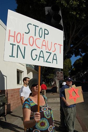 Members of the People's Coalition gathered at Carrillo and Chapala streets in Santa Barbara on Saturdya, January 10, to oppose Israel's ongoing military offensive against Hamas militants in the Gaza Strip.