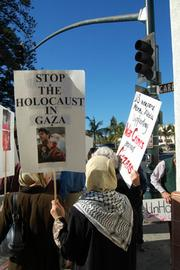 Protestors likened the events in Gaza to a Holocaust and pleaded for it to be stopped.