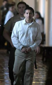 Ricardo Juazez in custody at he the Santa Barbara Superior Courthouse where he was sentenced to 17 years for the March 14, 2007 voluntary manslaughter of Luis Angel Linares