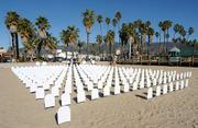 A memorial for the U.S. teenage soldiers that have been killed in Iraq and Afghanistan beside Stearns Wharf.
