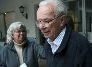 James Wheeler (right)  leaves the courthouse with daughter Terry Scrivner