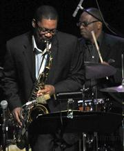 The Blue Note 7's Ravi Coltrane on tenor saxophone and Lewis Nash on drums.