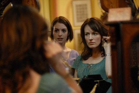 Anne Hathaway (left) and Rosemarie DeWitt (right) in <em>Rachel Getting Married</em>.