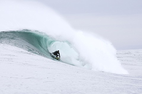 Keith Malloy surfing at 'Aileens' near the Cliffs of Moher, Co. Clare, Ireland.