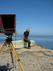 Portrait shoot with photographer Joni Sternbach using 150 year old camera at Pleasure Point.