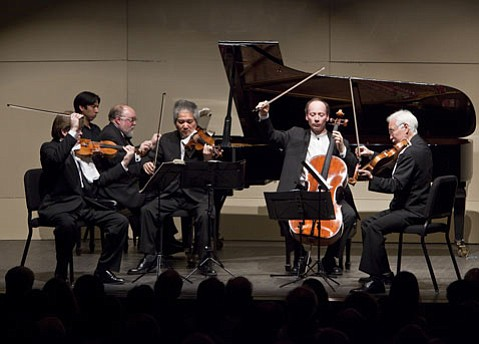 UCSB professor of music Paul Berkowitz joined the Tokyo String Quartet for a special piano quintet at Wednesday's performance.