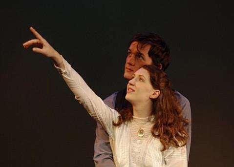 Lydia Rae Benko as Nina Mikhailovna Zarechnaya and Merlin Huff as Konstantin Gavrilovich Treplyov in <em>Seagull</em>.