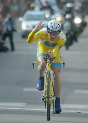 Levi Leipheimer, two time AMGEN Tour of California winner, finishes the sixth stage still leading in time. With two stages left in the 2009 tour, Levi crosses the finish line already predicting his third win.