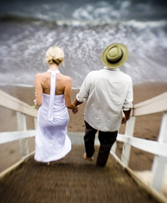 Myriah and Dusty McKenzie prepare to take their vows on S.L.O.'s Shell Beach this past September.