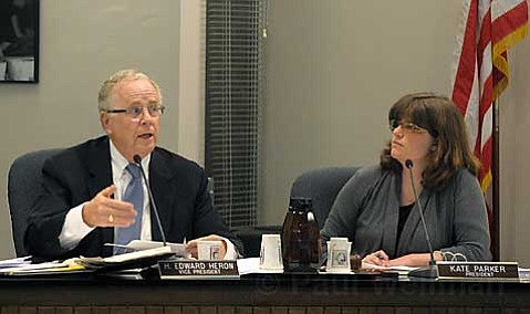 RESTRICTED DISTRICT:  Despite objections from Boardmember Ed Heron, left, a motion made by school board president Kate Parker, right, to stop allowing out-of-district transfers into Santa Barbara elementary schools was narrowly approved on Tuesday in the name of fiscal prudence.