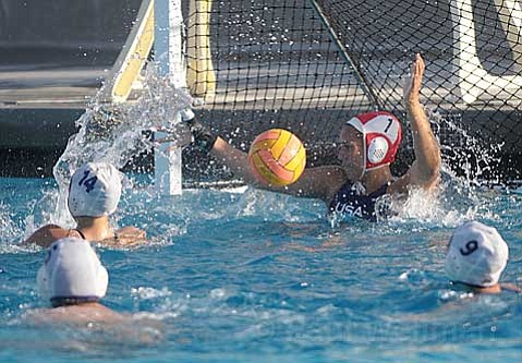 Dos Pueblos goalie Sami Hill was aided by her teammates' tough defense to keep Corona del Mar at bay in the Chargers' 3-2 Division I CIF victory.