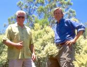 Rick Halsey with Huell Howser during filming of a program on the chaparral.