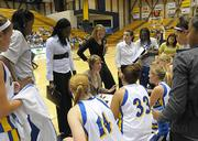 UCSB Women's Basketball Coach Lindsay Gottlieb (center) during a timeout